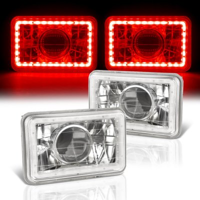 Chevy El Camino 1982-1987 Red LED Halo Sealed Beam Projector Headlight Conversion