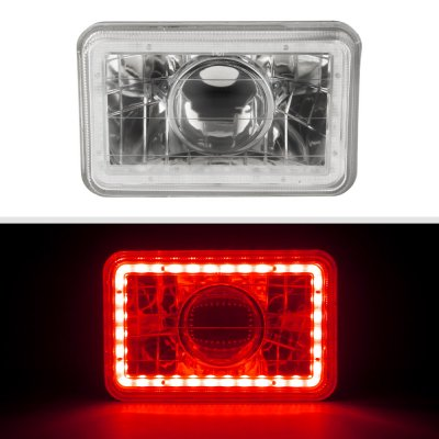 Pontiac Bonneville 1975-1986 Red LED Halo Sealed Beam Projector Headlight Conversion