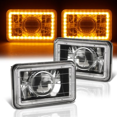 Chevy C10 Pickup 1981-1987 Amber LED Halo Black Sealed Beam Projector Headlight Conversion