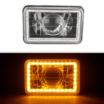 Chevy Celebrity 1982-1986 Amber LED Halo Black Sealed Beam Projector Headlight Conversion