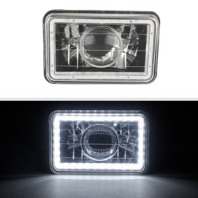 Chevy 1500 Pickup 1981-1987 LED Halo Black Sealed Beam Projector Headlight Conversion Low and High Beams