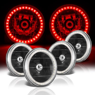 Buick Special 1961-1969 Red LED Halo Black Sealed Beam Headlight Conversion