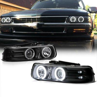 Chevy Silverado 1999-2002 Black Halo Projector Headlights with LED