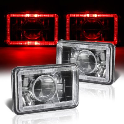 Chevy Celebrity 1982-1986 Red Halo Black Chrome Sealed Beam Projector Headlight Conversion