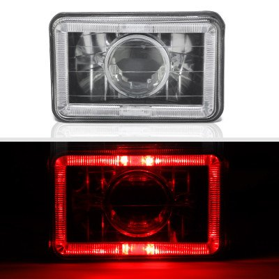 GMC Truck 1981-1987 Red Halo Black Chrome Sealed Beam Projector Headlight Conversion
