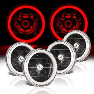 Chevy El Camino 1964-1970 Red Halo Tube Black Sealed Beam Headlight Conversion