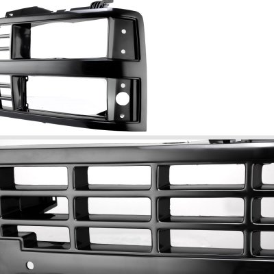 Chevy 2500 Pickup 1988-1993 Black Replacement Grille