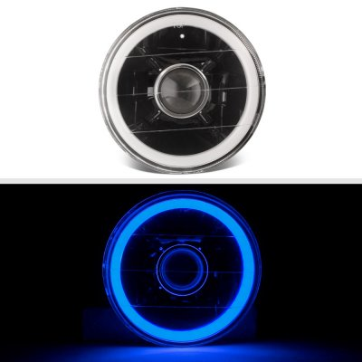 Chevy El Camino 1964-1970 Blue Halo Tube Black Sealed Beam Projector Headlight Conversion