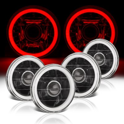 Chrysler New Yorker 1965-1981 Red Halo Tube Black Sealed Beam Projector Headlight Conversion