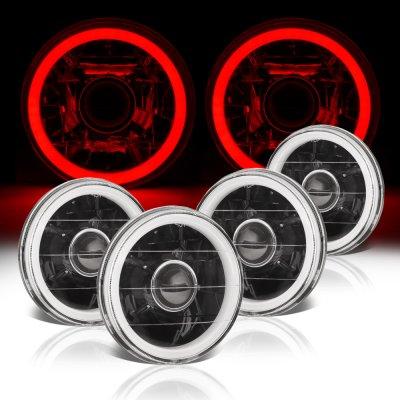 Pontiac LeMans 1964-1972 Red Halo Tube Black Sealed Beam Projector Headlight Conversion