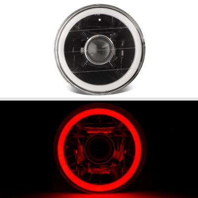 BMW 5 Series 1982-1988 Red Halo Tube Black Sealed Beam Projector Headlight Conversion