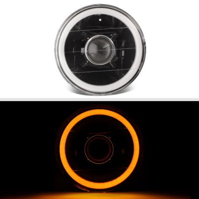 Cadillac Deville 1961-1972 Amber Halo Tube Black Sealed Beam Projector Headlight Conversion