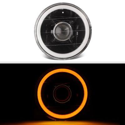 Chrysler New Yorker 1965-1981 Amber Halo Tube Black Sealed Beam Projector Headlight Conversion