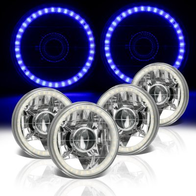 Cadillac Deville 1961-1972 Blue LED Halo Sealed Beam Projector Headlight Conversion