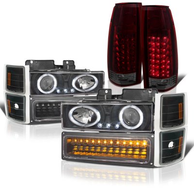Chevy Silverado 1994-1998 Black Halo Projector Headlights LED DRL Tinted LED Tail Lights
