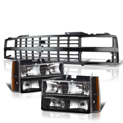Chevy 1500 Pickup 1988-1993 Black Grille and Headlights Set