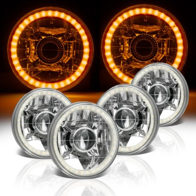 Cadillac Deville 1961-1972 Amber LED Halo Sealed Beam Projector Headlight Conversion