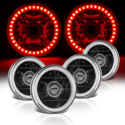 Chevy El Camino 1964-1970 Red LED Halo Black Sealed Beam Projector Headlight Conversion
