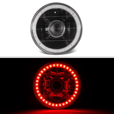 Chrysler New Yorker 1965-1981 Red LED Halo Black Sealed Beam Projector Headlight Conversion