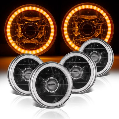 Chevy Caprice 1966-1976 Amber LED Halo Black Sealed Beam Projector Headlight Conversion