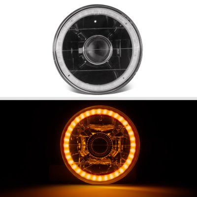 Cadillac Calais 1965-1972 Amber LED Halo Black Sealed Beam Projector Headlight Conversion