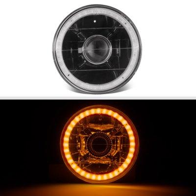 Mazda RX3 1973-1976 Amber LED Halo Black Sealed Beam Projector Headlight Conversion