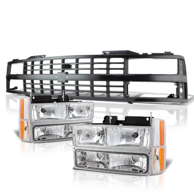 Chevy 3500 Pickup 1988-1993 Black Grille and Clear Headlights Set