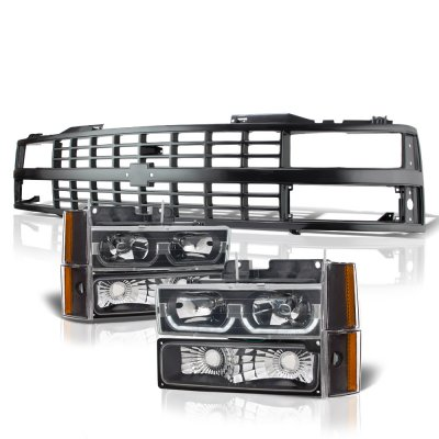 Chevy 3500 Pickup 1988-1993 Black Grille LED DRL Headlights Set