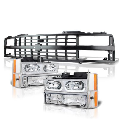 Chevy 3500 Pickup 1988-1993 Black Grille LED DRL Clear Headlights Set