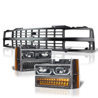 Chevy 2500 Pickup 1988-1993 Black Grille LED DRL Headlights Bumper Lights