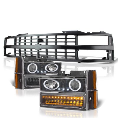 Chevy 3500 Pickup 1988-1993 Black Grille Halo Projector Headlights LED Bumper Lights