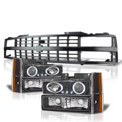 Chevy 3500 Pickup 1988-1993 Black Grille LED Halo Projector Headlights Set