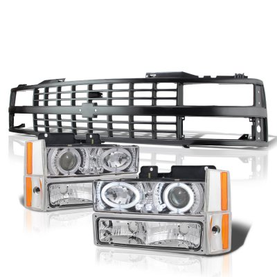 Chevy 3500 Pickup 1988-1993 Black Grille LED Halo Clear Projector Headlights Set