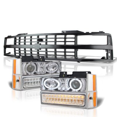 Chevy 3500 Pickup 1988-1993 Black Grille Halo Clear Projector Headlights LED Bumper Lights