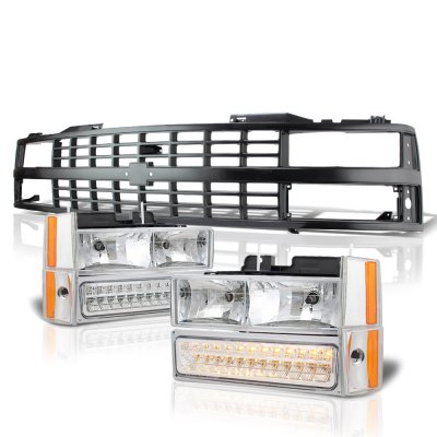 Chevy 3500 Pickup 1988-1993 Black Grille Clear Headlights LED Bumper Lights