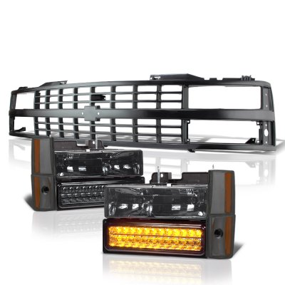 Chevy 1500 Pickup 1988-1993 Black Grille Smoked Headlights LED Bumper Lights