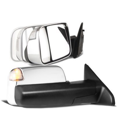 Dodge Ram 1500 2009-2018 Chrome Power Folding Towing Mirrors Clear LED Signal Heated