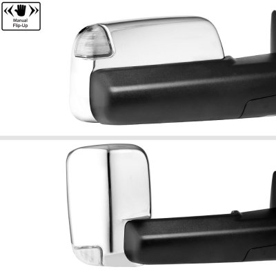 Dodge Ram 3500 2010-2018 Chrome Power Folding Towing Mirrors Clear LED Signal Heated
