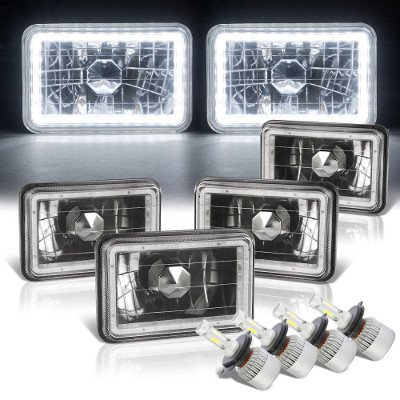Cadillac Eldorado 1975-1985 LED Halo Black LED Headlights Conversion Kit Low and High Beams