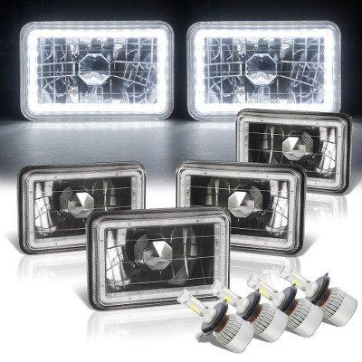 Pontiac LeMans 1976-1977 LED Halo Black LED Headlights Conversion Kit Low and High Beams