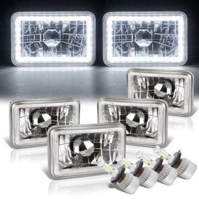 Chevy Celebrity 1982-1986 White LED Halo LED Headlights Conversion Kit Low and High Beams