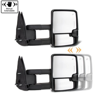 Chevy 2500 Pickup 1988-1998 Chrome Power Towing Mirrors Smoked Tube LED Lights