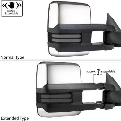 Chevy Silverado 1988-1998 Chrome Power Towing Mirrors Smoked Tube LED Lights