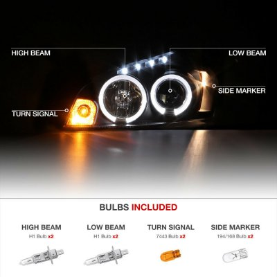 Chevy Impala 2006-2013 Black Dual Halo Projector Headlights with LED