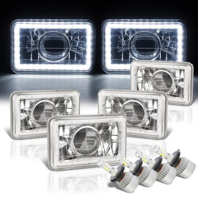 Chrysler New Yorker 1988-1990 White LED Halo LED Projector Headlights Conversion Kit Low and High Beams