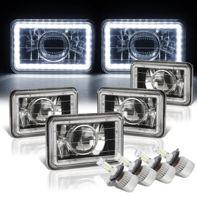 Ford Thunderbird 1983-1986 White LED Halo Black LED Projector Headlights Conversion Kit Low and High Beams