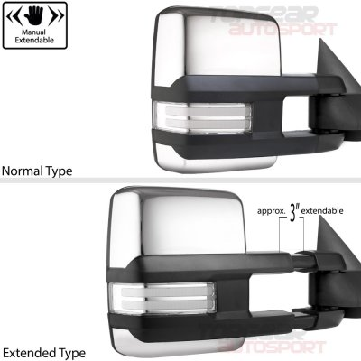 Chevy Silverado 1999-2002 Chrome Towing Mirrors Tube LED Lights Power Heated