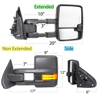 Chevy Silverado 2500HD 2015-2019 Towing Mirrors Tube LED Lights Power Heated
