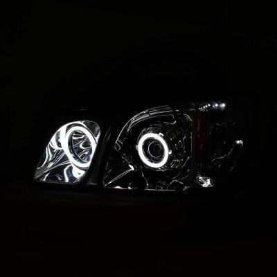 Lexus LX470 1998-2007 Projector Headlights Chrome  Halo LED