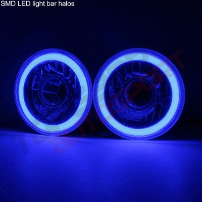 Jeep Wrangler 1997-2006 Blue Halo Tube Sealed Beam Projector Headlight Conversion